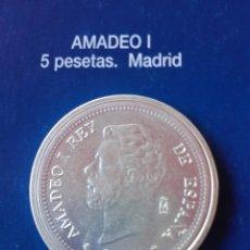 Reproducciones billetes y monedas: MONEDA AMADEO I 5 PESETAS 1871 . REPRODUCCIÓN. Lote 98695804