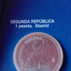 Reproducciones billetes y monedas: MONEDA II REPÚBLICA 1 PESETA 1933. REPRODUCCIÓN. Lote 98701716