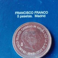 Reproducciones billetes y monedas: MONEDA FRANCO 5 PESETAS 1949. Lote 98701908