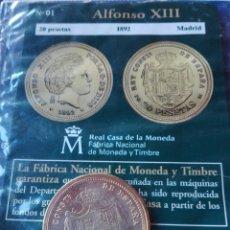 Reproducciones billetes y monedas: MONEDA ALFONSO XIII 20 PESETAS 1892. REPRODUCCIÓN. Lote 98702555