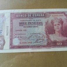 Reproducciones billetes y monedas: BILLETE ESPAÑA 10 PESETAS 1935. REPRODUCCIÓN. Lote 98702974