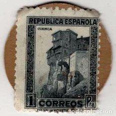 Reproducciones billetes y monedas: CARTÓN MONEDA DE USO PROVISIONAL ESCUDO REPÚBLICA ESPAÑOLA SELLO 1 PESETA CUENCA. Lote 98733706