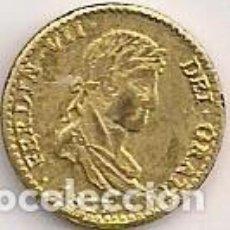Reproducciones billetes y monedas: ESPAÑA - FERNANDO VII - 8 REALES 1817 DORADA - REPRODUCCIÓN EN MINIATURA APROX 10MM. Lote 99561871