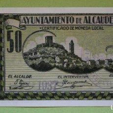 Reproducciones billetes y monedas: REPRODUCCIÓN BILLETE 50 CTS. - AYTO. DE ALCAUDETE. Lote 100321331
