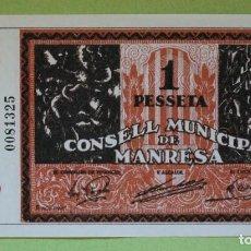 Reproducciones billetes y monedas: REPRODUCCIÓN BILLETE UNA PESSETA. - CONSELL MUNICIPAL DE MANRESA. Lote 100322151