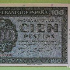 Reproducciones billetes y monedas: REPRODUCCIÓN BILLETE CIEN PESETAS 1936. Lote 100322483
