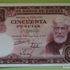 Reproducciones billetes y monedas: REPRODUCCIÓN BILLETE CINCUENTA PESETAS 1951. Lote 100322815