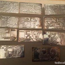 Reproducciones billetes y monedas: 11 BILLETES EN PLATA DE LEY , PESETAS. Lote 100710363