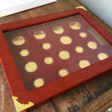 Reproducciones billetes y monedas: COLECCÍON LA MONEDA DE ORO ESPAÑOLA DE LA FNMT, REPLICAS DE PLATA BAÑADA EN ORO. Lote 103588071