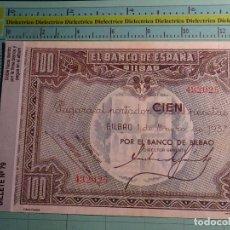 Reproducciones billetes y monedas: BILLETE FACSÍMIL DE ESPAÑA. Nº 79. 100 PESETAS. BILBAO 1 ENERO 1937. Lote 119860270
