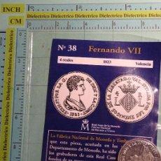Reproducciones billetes y monedas: MONEDA ESPAÑOLA. 38. FERNANDO VII, 4 REALES 1823 VALENCIA. BAÑO DE PLATA. REPRODUCCIÓN EL PAÍS.. Lote 103995467