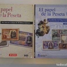 Reproducciones billetes y monedas: COLECCIÓN COMPLETA 80 BILLETES. EL PAPEL DE LA PESETA I Y II. FACSÍMIL. FACSÍMILES FNMT. 400 GR. Lote 104043743
