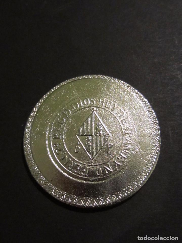 Reproducciones billetes y monedas: Moneda FERN 7º 5p. YSLAS BALEARES 1823. Replica. Mallorca . - Foto 3 - 105743719