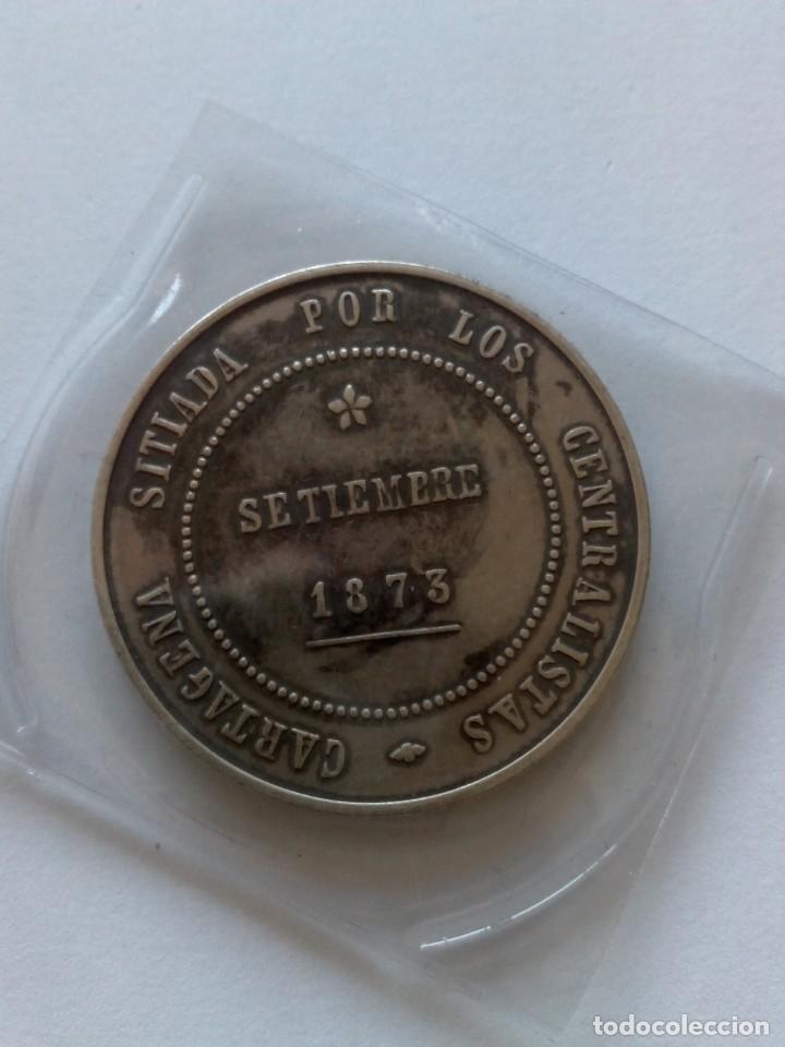 REPRODUCCIÓN MONEDA 5 PESETAS REVOLUCIÓN CANTONAL 1873 (Numismática - Reproducciones)