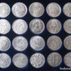 Reproducciones billetes y monedas: COLECCIÓN DE 20 MONEDAS CATALANAS, BAÑADAS EN PLATA. Lote 107668459