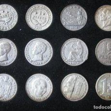 Reproducciones billetes y monedas: COLECCION DE 12 MONEDAS BAÑADAS EN PLATA DE LA PESETA AL EURO. Lote 107705259