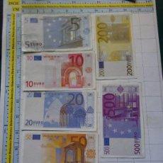 Reproducciones billetes y monedas: LOTE JUEGO COMPLETO DE 7 BILLETES FACSÍMIL DE 5 10 20 50 100 200 Y 500 EUROS. Lote 128114750