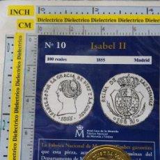 Reproducciones billetes y monedas: MONEDA ESPAÑOLA. 10. 100 REALES ISABEL II 1855 MADRID. CON BAÑO DE ORO. REPRODUCCIÓN EL PAÍS.. Lote 108152115