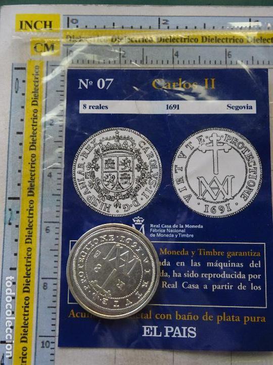 MONEDA ESPAÑOLA. 7. 8 REALES CARLOS II 1691 SEGOVIA. CON BAÑO DE PLATA. REPRODUCCIÓN EL PAÍS. (Numismática - Reproducciones)