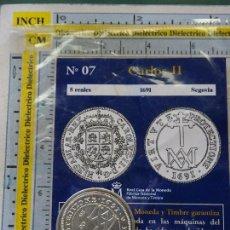 Reproducciones billetes y monedas: MONEDA ESPAÑOLA. 7. 8 REALES CARLOS II 1691 SEGOVIA. CON BAÑO DE PLATA. REPRODUCCIÓN EL PAÍS.. Lote 108152695