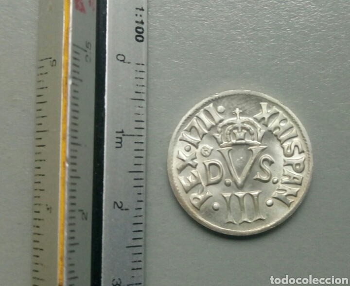 MONEDA REPRODUCCIÓN BORBONES REX 1711 XHISPAN PLATA (Numismática - Reproducciones)