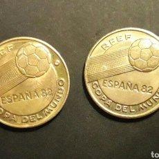 Reproducciones billetes y monedas: 2 MONEDAS MUNDIAL ESPAÑA 82. ITALIA ARGENTINA.. Lote 108632626