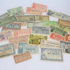 Reproducciones billetes y monedas: CONJUNTO 30 REPRODUCCIONES BILLETES LOCALES - BREDA, SITGES, OLOT, FOIXÀ... - AÑOS 30, GUERRA CIVIL. Lote 108794179