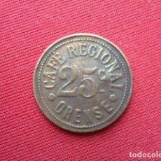 Reproducciones billetes y monedas: ORENSE. CAFE REGIONAL. FICHA DE 25 CENTIMOS. REPRODUCCIÓN. Lote 108803787