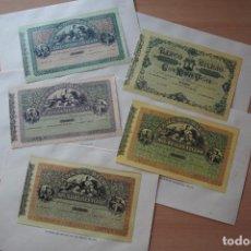 Reproducciones billetes y monedas: 5 FACSÍMILES BILLETES DEL BANCO DE BILBAO. EDITADOS EN EL CENTENARIO 1932. REALES DE VELLON. FOTOS. Lote 109427747