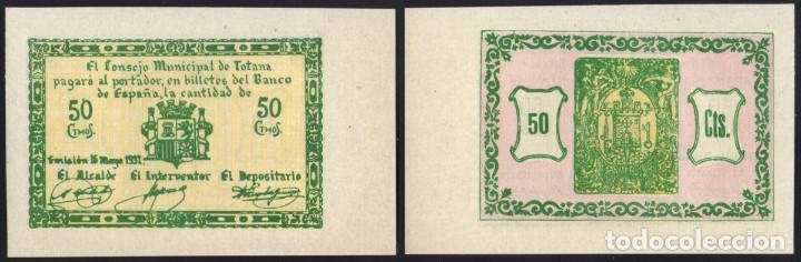 BILLETE LOCAL - TOTANA - 50 CENTS - 1937 - GUERRA CIVIL - SIN CIRCULAR (Numismática - Reproducciones)