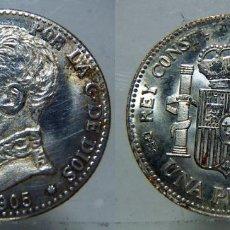 Reproducciones billetes y monedas: BONITA REPRODUCCIÓN MONEDA 1 PESETA DE ALFONSO XIII 1905 BAÑO PLATA FINA. Lote 110232451