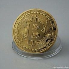 Reproducciones billetes y monedas: BITCOIN ORO 18K. Lote 111066411