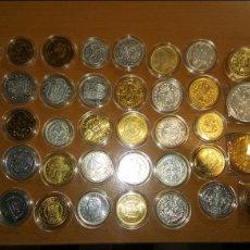 Reproducciones billetes y monedas: COLECCIÓN DE 40 MONEDAS ACUÑADOS EN METAL CON BASE DE ORO Y PLATA PURA .DEL REAL A LA PESETA. Lote 111153352