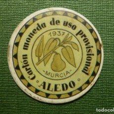 Reproducciones billetes y monedas: CARTÓN MONEDA DE USO PROVISIONAL - ALEDO - MURCIA - 1937 - 5 CTS. REPÚBLICA ESPAÑOLA. Lote 111466711