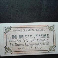 Reproducciones billetes y monedas: MINAS DE CABEZO RAJADO VALE 25 CÉNTIMO LA UNIÓN CARTAGENA MURCIA 1940. Lote 112100946