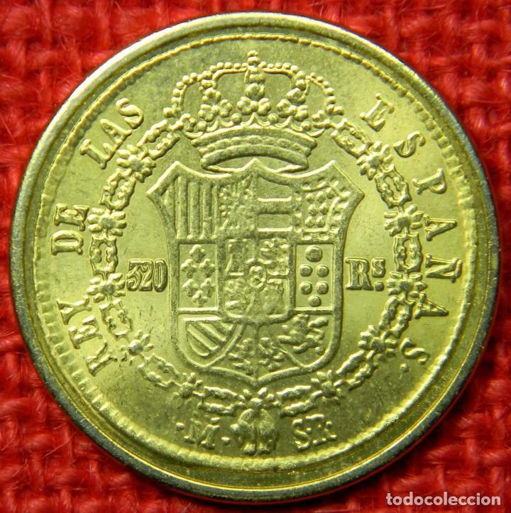 Reproducciones billetes y monedas: España - Fernando VII Por la gracia de Dios y la Constitución - 1823 - 320 reales - FNMT - Baño oro - Foto 2 - 112256911