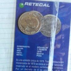 Reproducciones billetes y monedas: REPRODUCCIÓN MONEDA 1 PESETAS ALFONSO XIII EN PLATA. COLECCIÓN NORTE DE CASTILLA . Lote 112456343