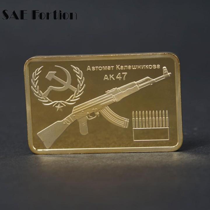 LINGOTE ORO 24K KALASCHNIKOW AK47 EDICION LIMITADA (Numismática - Reproducciones)