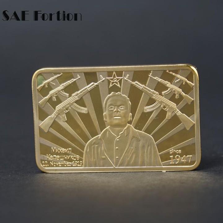 Reproducciones billetes y monedas: LINGOTE ORO 24K KALASCHNIKOW AK47 EDICION LIMITADA - Foto 2 - 150365841