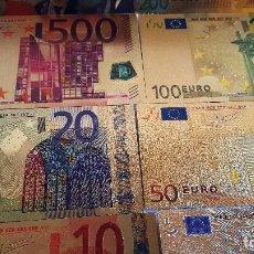 Reproducciones billetes y monedas: COLECCION 8 BILLETES EUROS A COLOR 99.9% PURE ORO 24K. CON CERTIFICADO AUTENTICIDAD NUEVOS. Lote 114673730