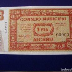 Reproducciones billetes y monedas: BILLETE 1 PESETA CONSEJO MUNICIPAL DE ALCAÑIZ 1937 REPRODUCCION. Lote 113002667