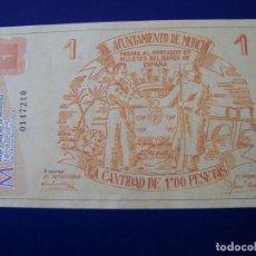 Reproducciones billetes y monedas: BILLETE 1 PÈSETA AYUNTAMIENTO DE MURCIA 1937 REPRODUCCION. Lote 113003287