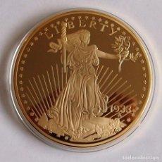 Reproducciones billetes y monedas: MONEDA O MEDALLA DE 100 MM ¨DOUBLE EAGLE 1933¨ CONMEMORATIVA MEDALLA DOUBLE EAGLE.. Lote 113713247