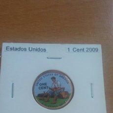 Reproducciones billetes y monedas: ESTADOS UNIDOS 1 CENT 2009 SC COLOREADO. Lote 113796466