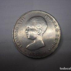 Reproducciones billetes y monedas: COPIA EXACTA EN PLATA DE 5 PESETAS DE 1888 18-88.MSM.ALFONSO XIII. Lote 36700146