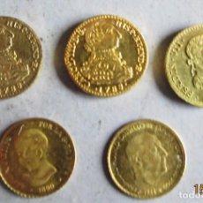 Reproducciones billetes y monedas: 5 MONEDITAS ESPAÑOLAS DORADAS- 10 MM. Lote 116105919