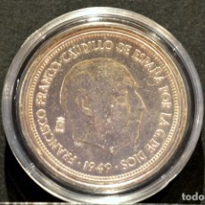 Reproducciones billetes y monedas: BONITA REPRODUCCIÓN MONEDA PLATA 5 PESETAS 1949 FRANCO METAL CON BAÑO DE PLATA PURA. Lote 76923331