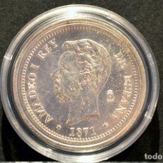 Reproducciones billetes y monedas: BONITA REPRODUCCIÓN MONEDA PLATA 5 PESETAS 1871 AMADEO I ESPAÑA METAL CON BAÑO DE PLATA PURA. Lote 76923379