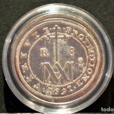 Reproducciones billetes y monedas: BONITA REPRODUCCIÓN MONEDA PLATA 8 REALES 1691 TIPO MARIA CARLOS II ESPAÑA METAL BAÑO DE PLATA PURA. Lote 76923419