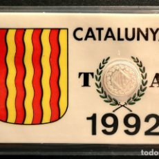 Reproducciones billetes y monedas: MEDALLA DE PLATA 1992 CATALUÑA EN CARNET PLASTIFICADO. Lote 111537863